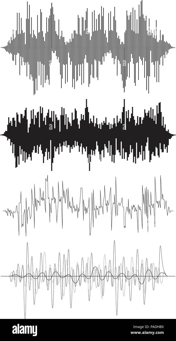 Vettore Sfondo Musicale Di Suono Audio Onde A Impulsi Equalizzatore