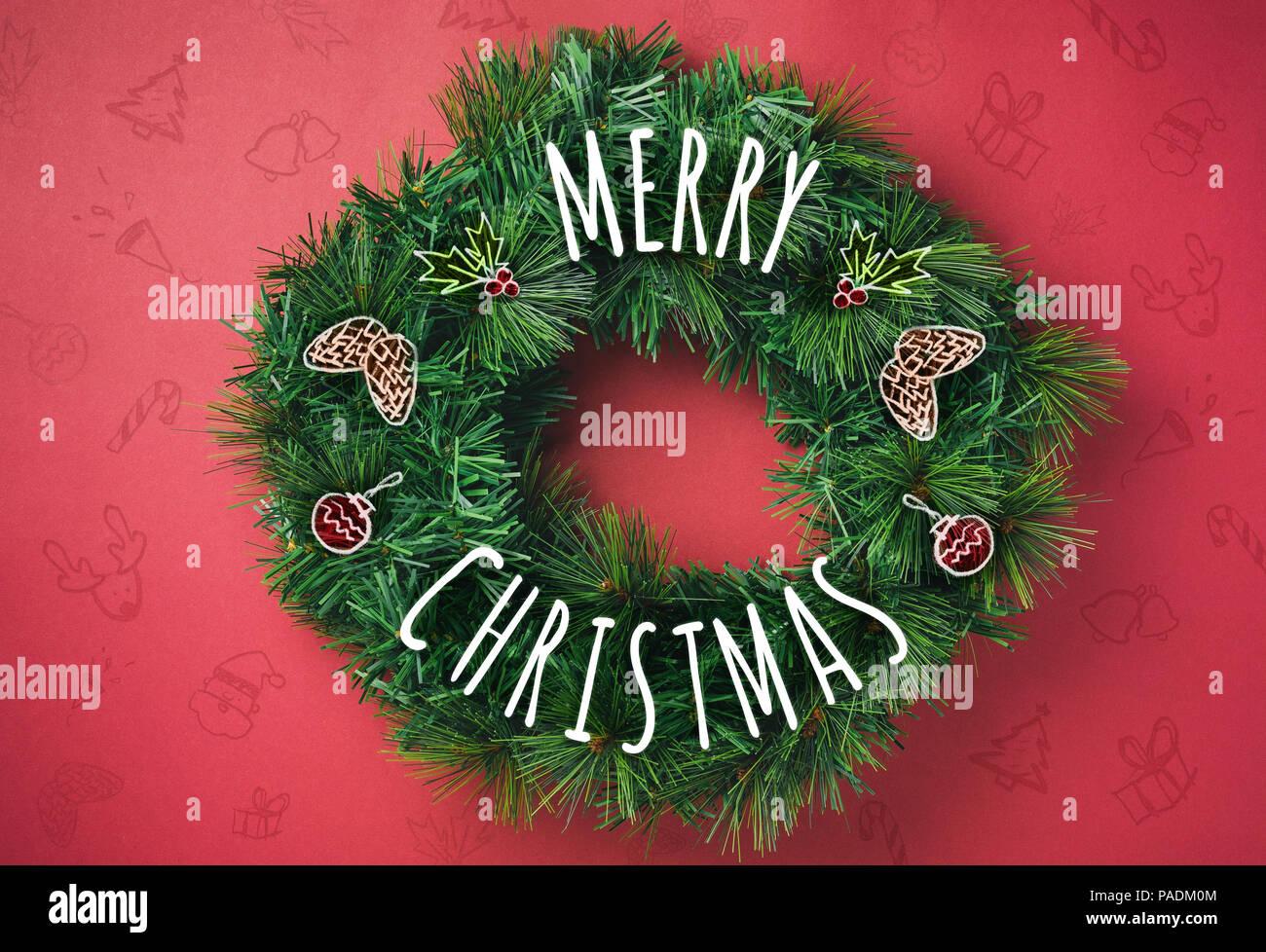 Foto Con Auguri Di Buon Natale.Auguri Di Buon Natale Corona Con Doodle Disegnare Pigna