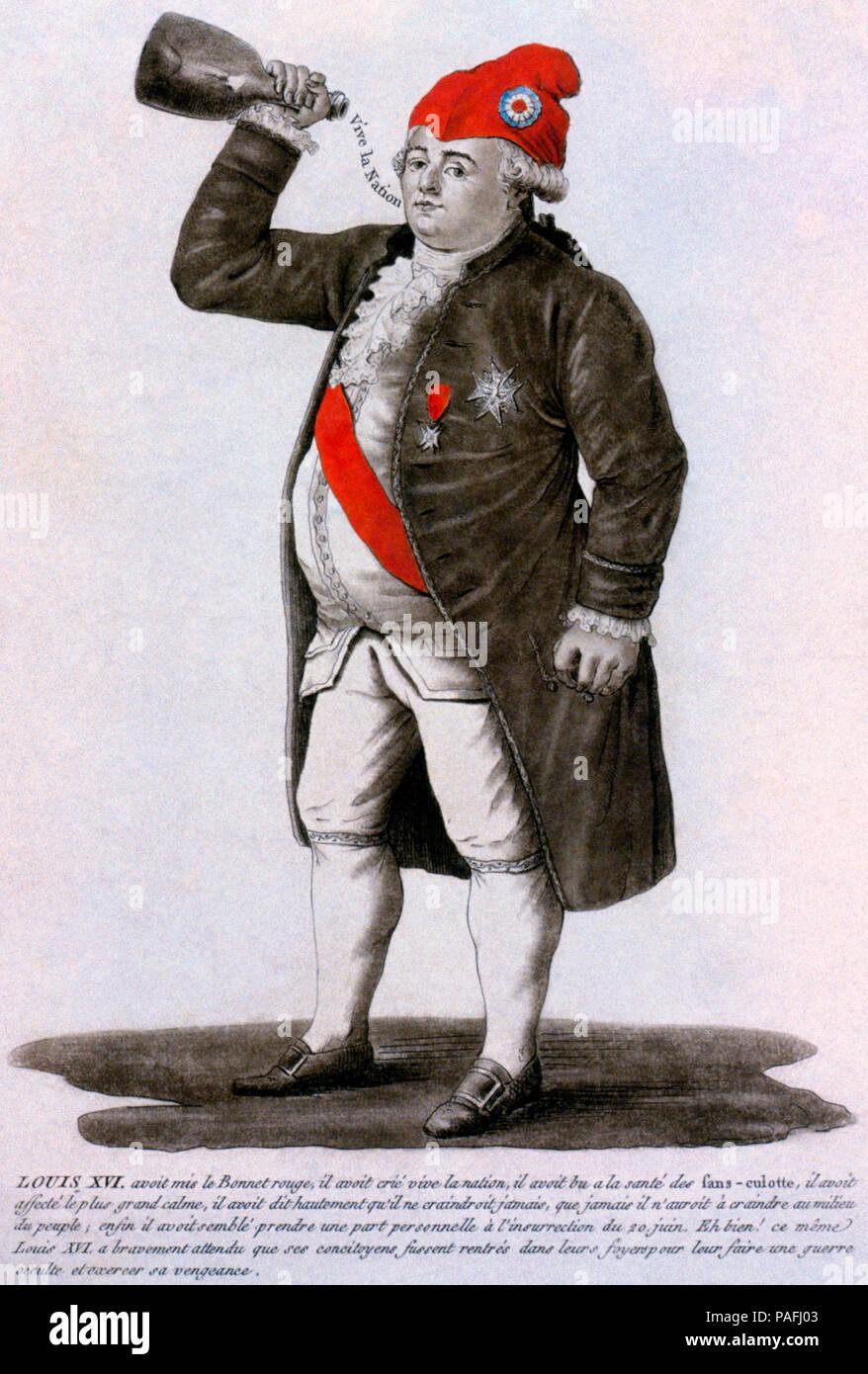 Luigi XVI di Francia che indossa un berretto frigio, bere un brindisi alla salute dei sans-culottes. Incisione e mezzatinta, con acquerello. 1792 Immagini Stock