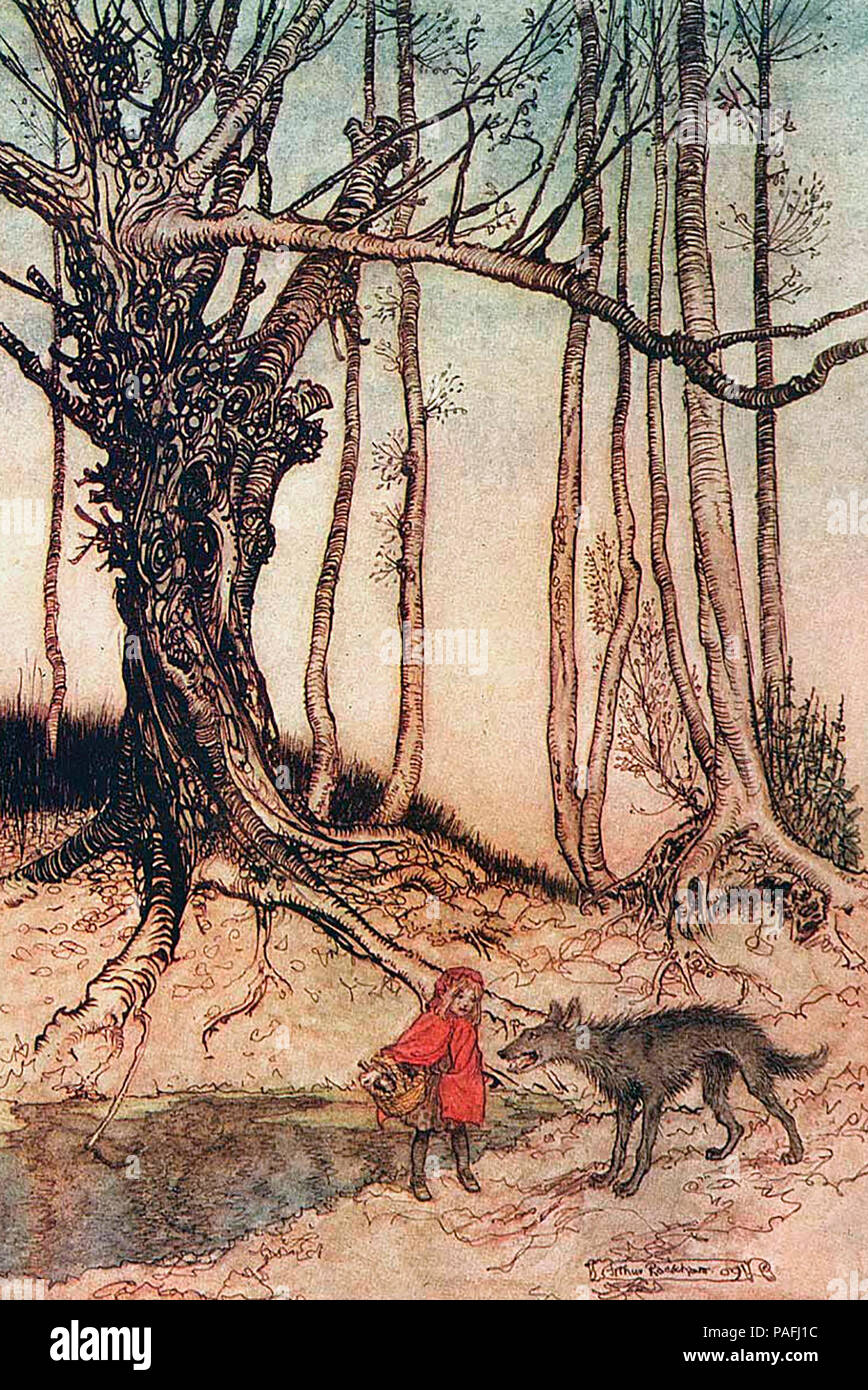 """Illustrazione di una fiaba """"Little Red Riding Hood"""" - Arthur Rackham Immagini Stock"""