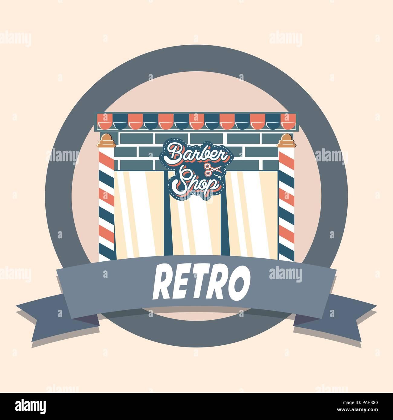 11ced5047da1 Barber shop retrò vintage shopping etichetta illustrazione vettoriale  Immagini Stock