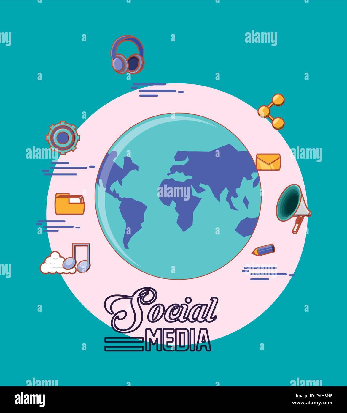 Mondo pianeta globalizzazione social media icone illustrazione vettoriale Immagini Stock