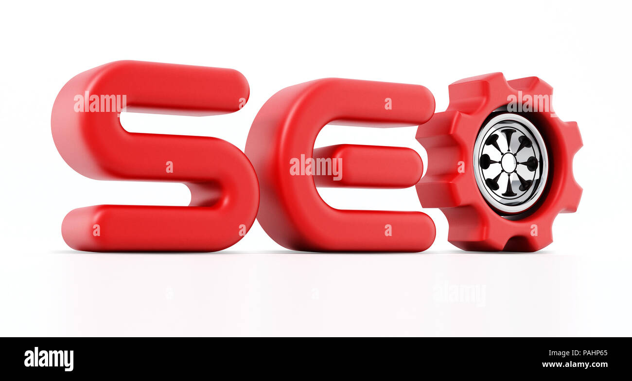 SEO parola con un ingranaggio all'interno della lettera o. 3D'illustrazione. Immagini Stock