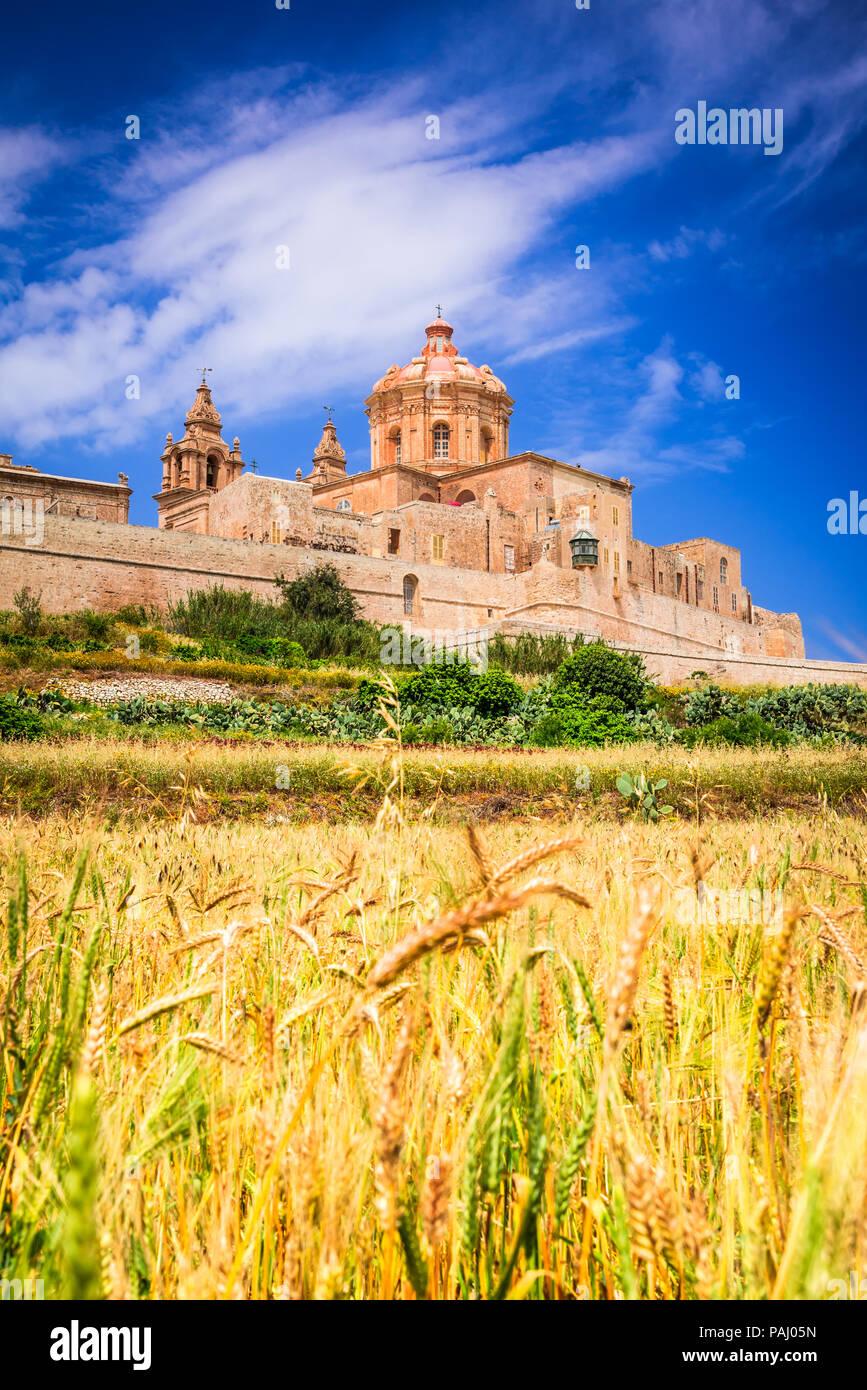 Mdina, Malta - una città fortificata nella regione settentrionale di Malta, la vecchia capitale dell'isola. Immagini Stock