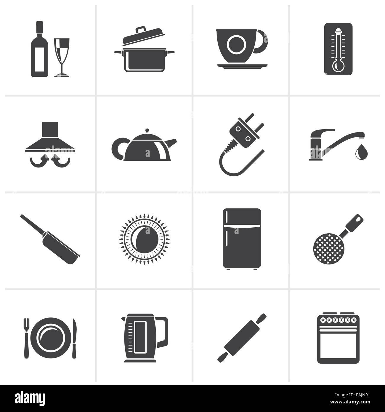 Nero oggetti da cucina e accessori icone - vettore icona impostare ...