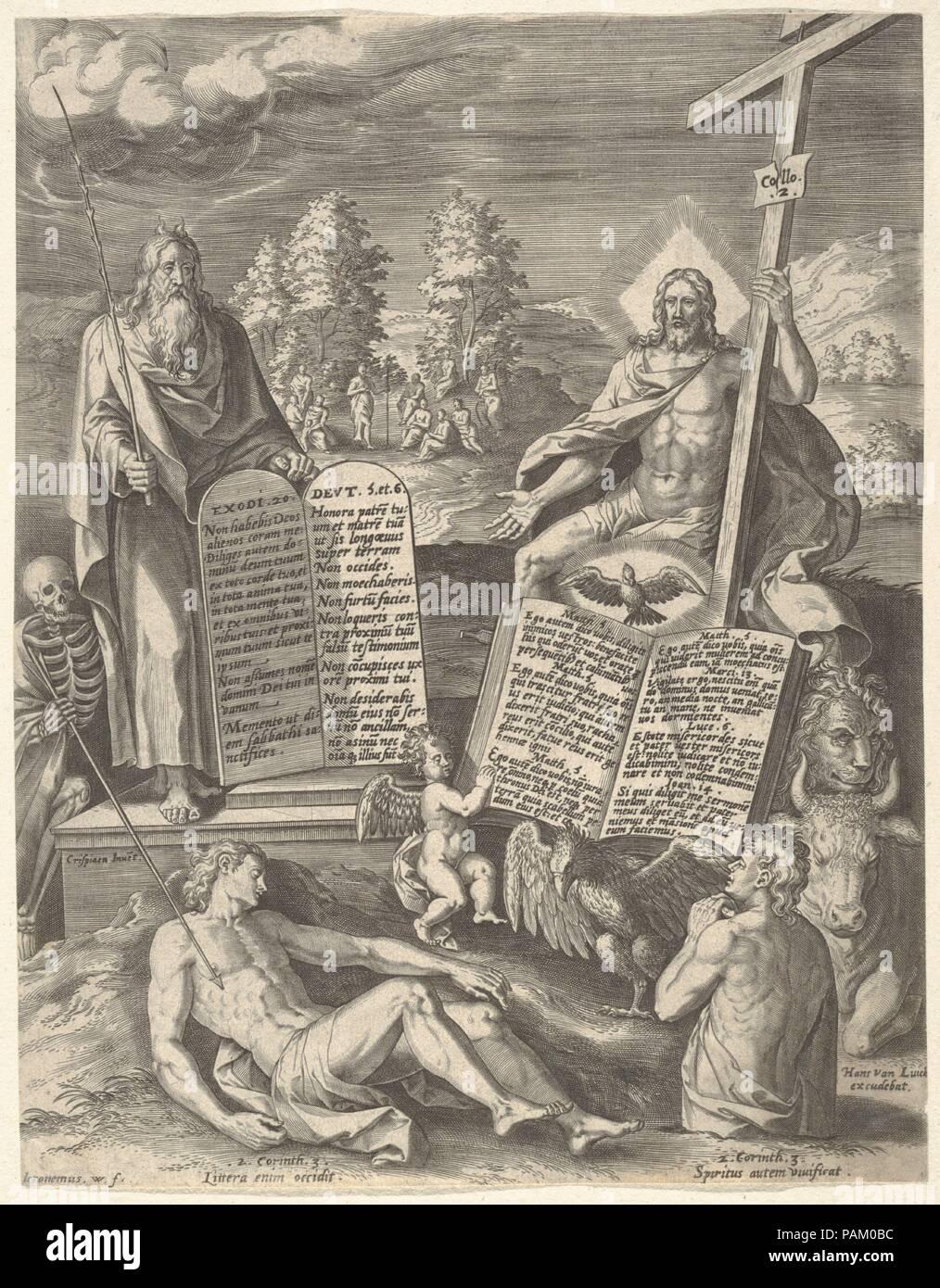 Allegoria della salvezza dell umanità (Allegoria della Legge antica e nuova). Artista: Hieronymus (Girolamo) Wierix (Netherlandish, ca. 1553-1619 Anversa); dopo Crispijn van den Broeck (Netherlandish, Mechelen ca. 1524-ca. 1591 Anversa). Dimensioni: foglio: 10 1/4 x 7 15/16 in. (26 x 20,2 cm). Data: n.d.. Museo: Metropolitan Museum of Art di New York, Stati Uniti d'America. Foto Stock