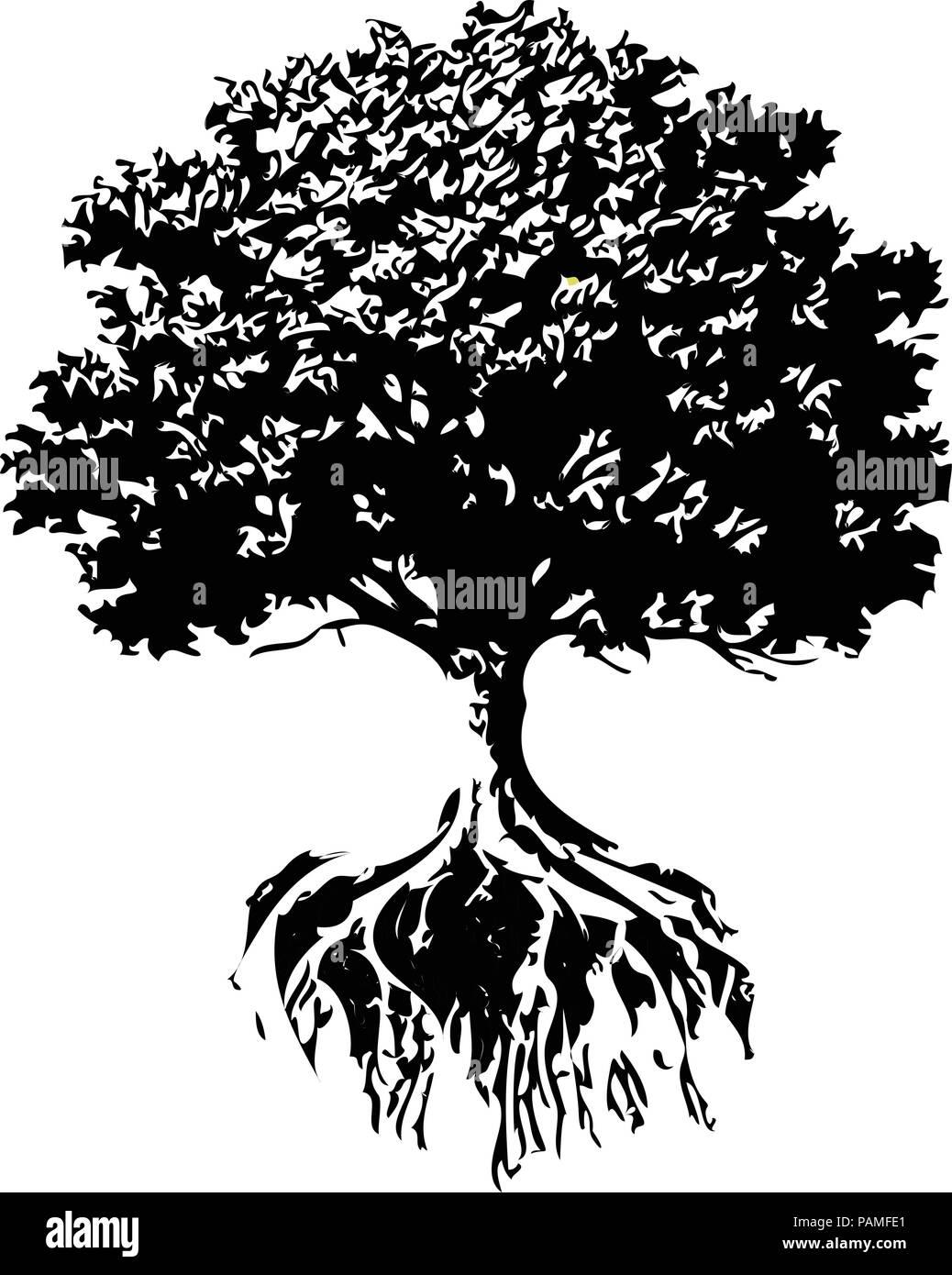 Alberi e radici silhouette querce e alberi di ulivo in for Albero ulivo vettoriale