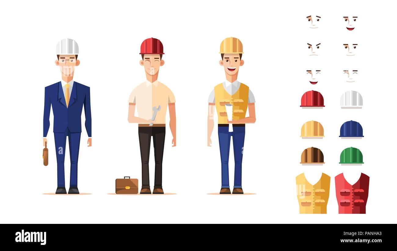 Ingegnere intelligente lavoratore nel set di caratteri disegno vettoriale Immagini Stock