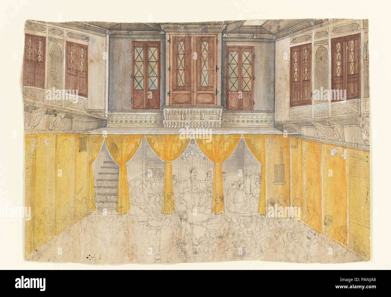 Interno del palazzo. Artista: attribuito a Ragunath. Cultura: (India Rajasthan, Nathadwara). Dimensioni: immagine (Vista): 27 1/4 x 19 1/4 in. (69,2 x 48,9 cm) incorniciato: 36 x 28 in. (91,4 x 71,1 cm). Data: ca. 1880-1900. Museo: Metropolitan Museum of Art di New York, Stati Uniti d'America. Immagini Stock