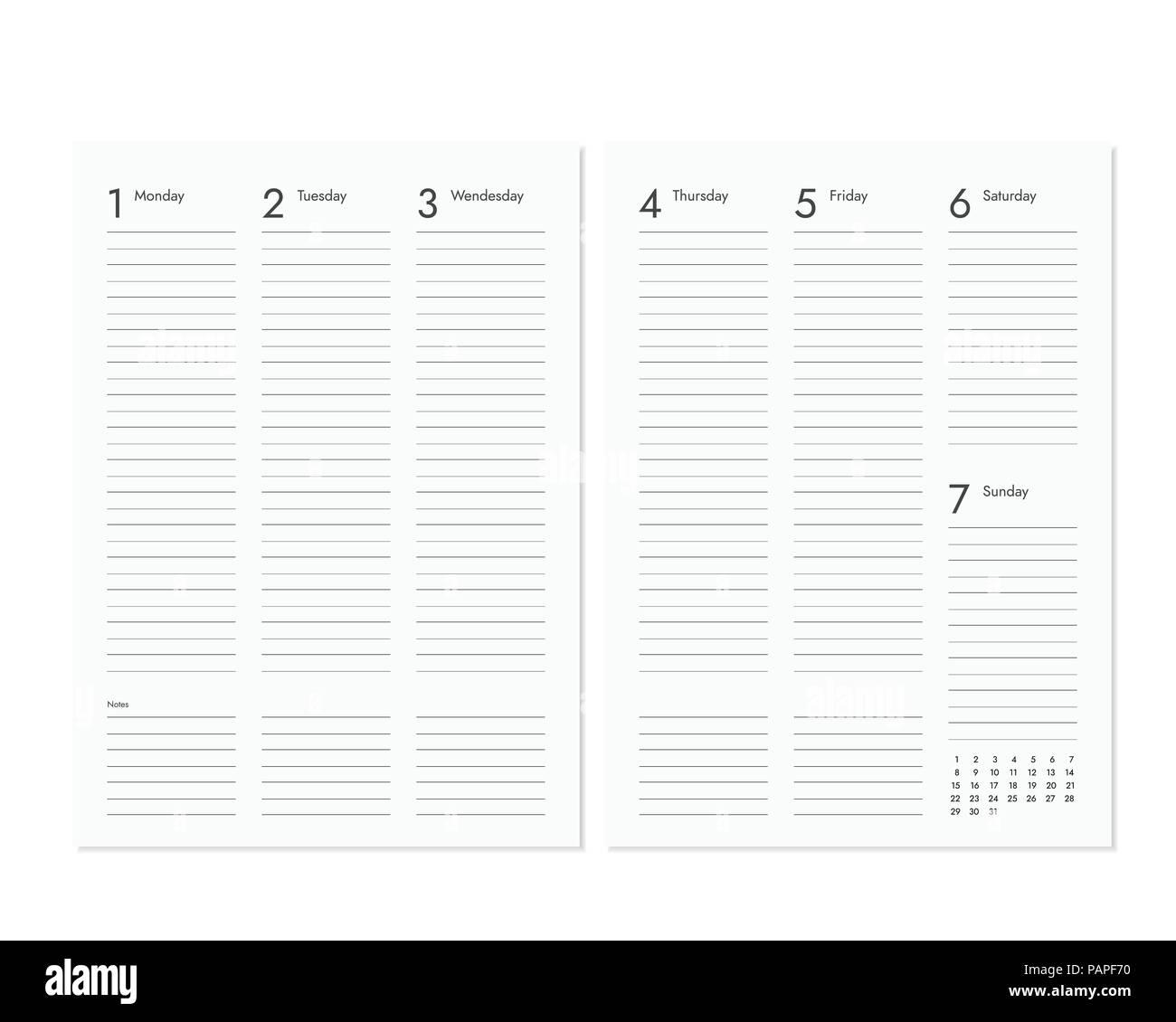 Pagina Calendario Settimanale.Vuoto Realistiche Le Pagine Di Diario Con Cadenza