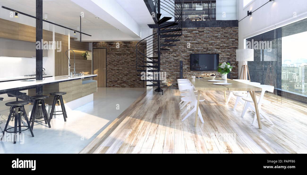 Il lusso moderno appartamento loft interni. 3d rendering concept