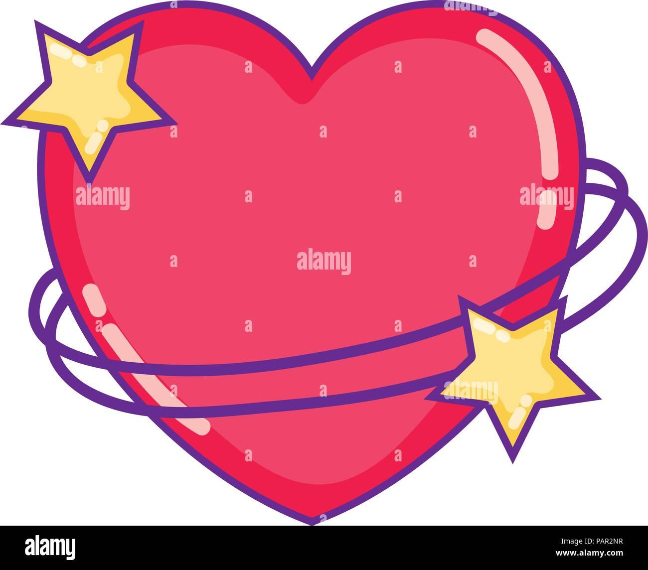 Il simbolo del cuore di stelle con decorazione di forme Immagini Stock