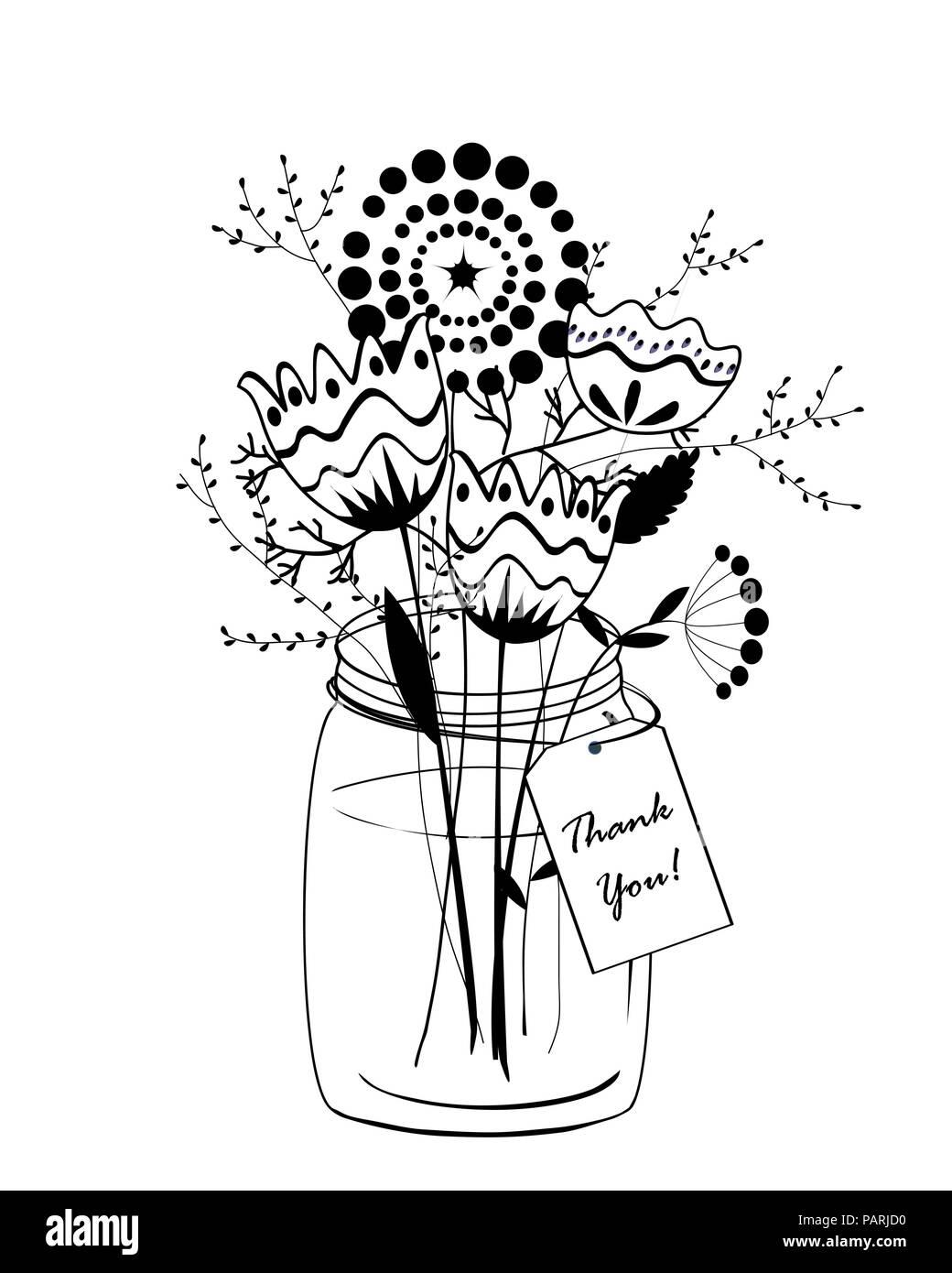 Doodle Bouquet Di Fiori In Vaso Di Vetro Ringrazio Il Card Vettore