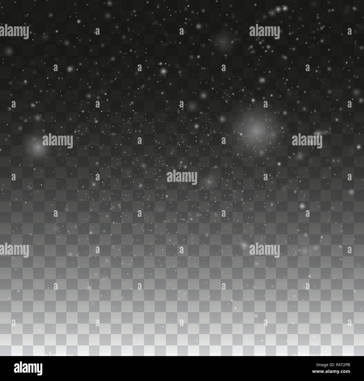 Sfocato bokeh particelle. Trasparente sullo sfondo del fiocco di neve. Natale snow fall winter illustrazione Immagini Stock