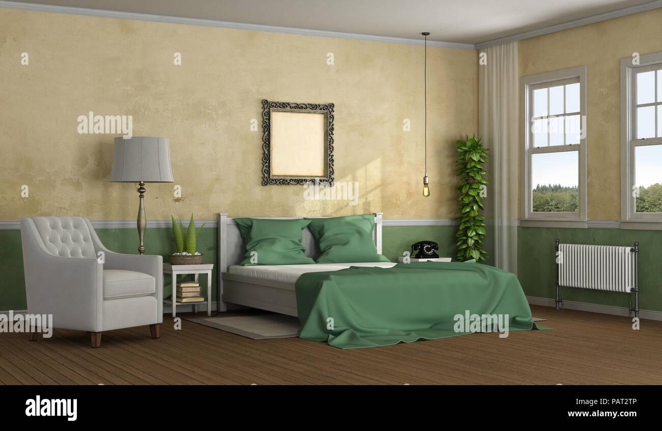 Elegante camera da letto matrimoniale in stile classico con letto ...