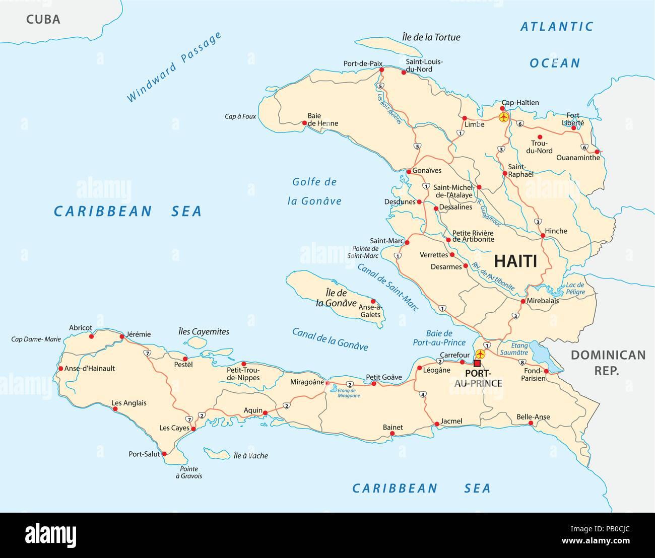 Cartina Geografica Haiti.Repubblica Di Haiti Road Mappa Vettoriale Immagine E Vettoriale Alamy