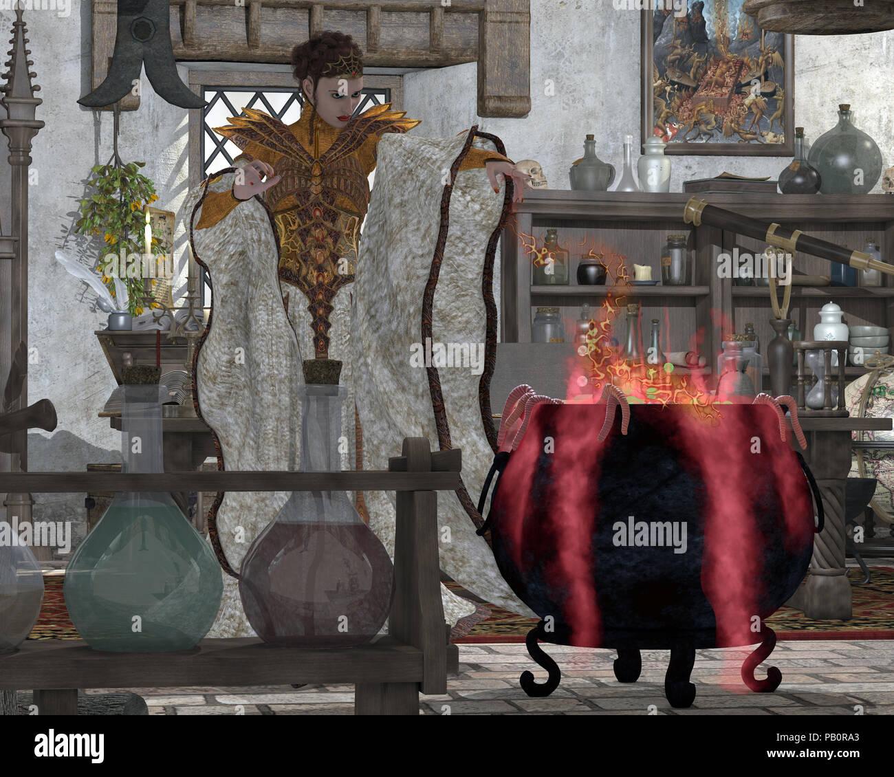 Pozione scuro - un mistico strega fa un bollitore grande di potenti magico infuso per uso nei suoi incantesimi incantato. Foto Stock