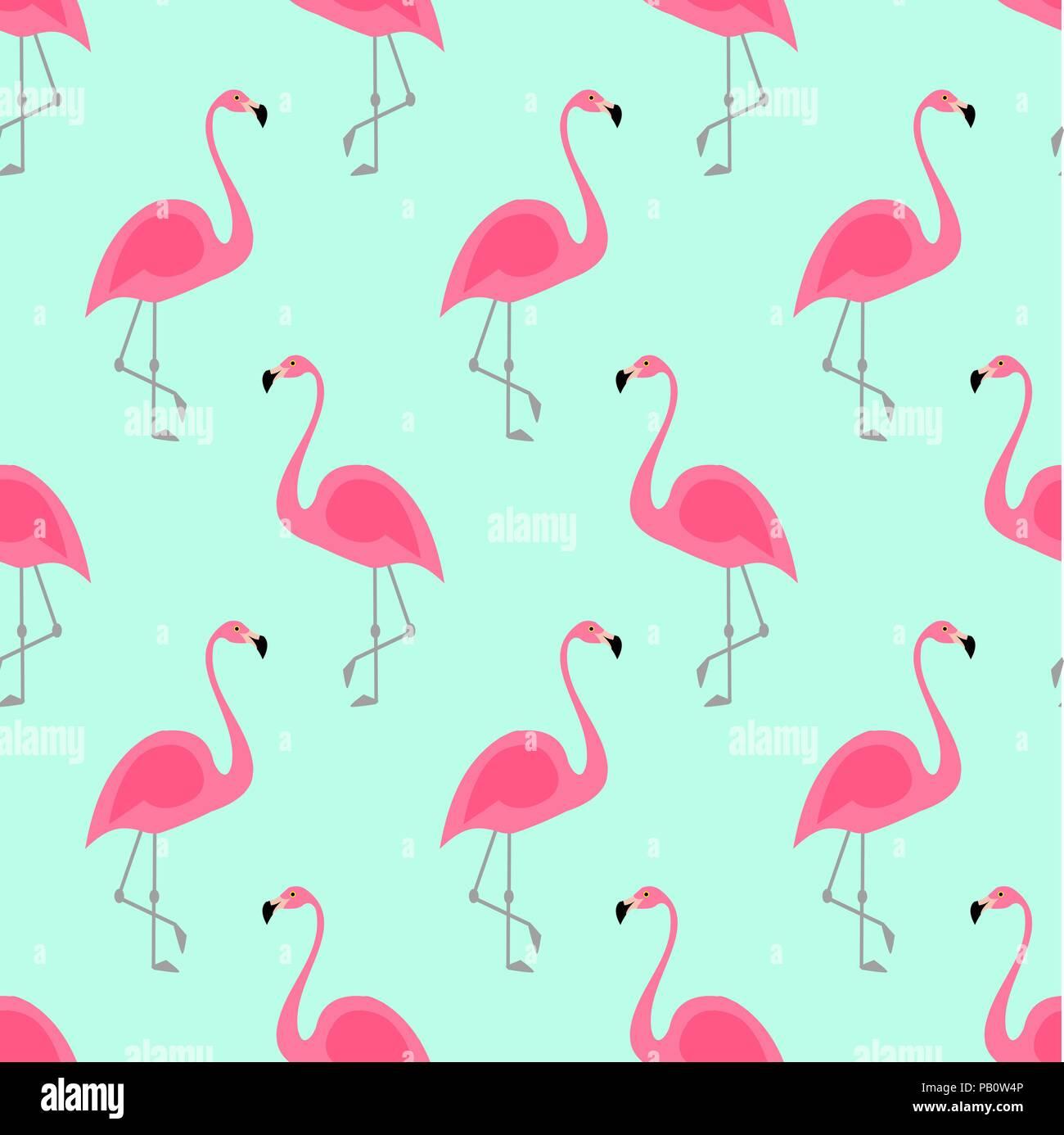 Flamingo seamless pattern di menta su sfondo verde il for Fenicottero arredamento
