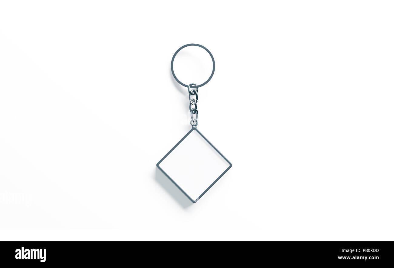 Metallo bianco Rombo bianco catena chiave mock up top view, rendering 3d. Argento chiaro design portachiavi mockup isolato. Vuoto portachiavi semplice titolare di souvenir Immagini Stock