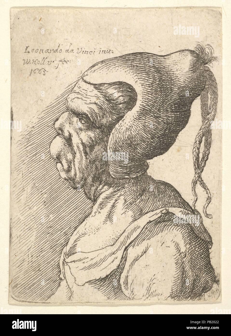 f6e0f57b9 Busto di un deformato donna con cappello conico e due trecce penzolanti nel  profilo a sinistra.
