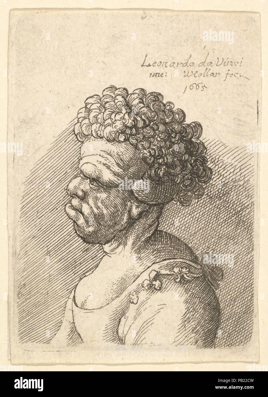 268c9216e Busto di un deformato donna con capelli ricci in profilo a sinistra.  Artista  Dopo Leonardo da ...