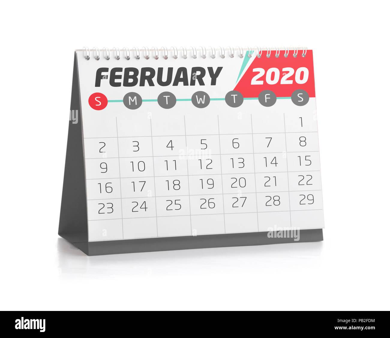 Febbraio Calendario 2020.Febbraio Bianco Calendario Di Office 2020 Isolato Su Bianco