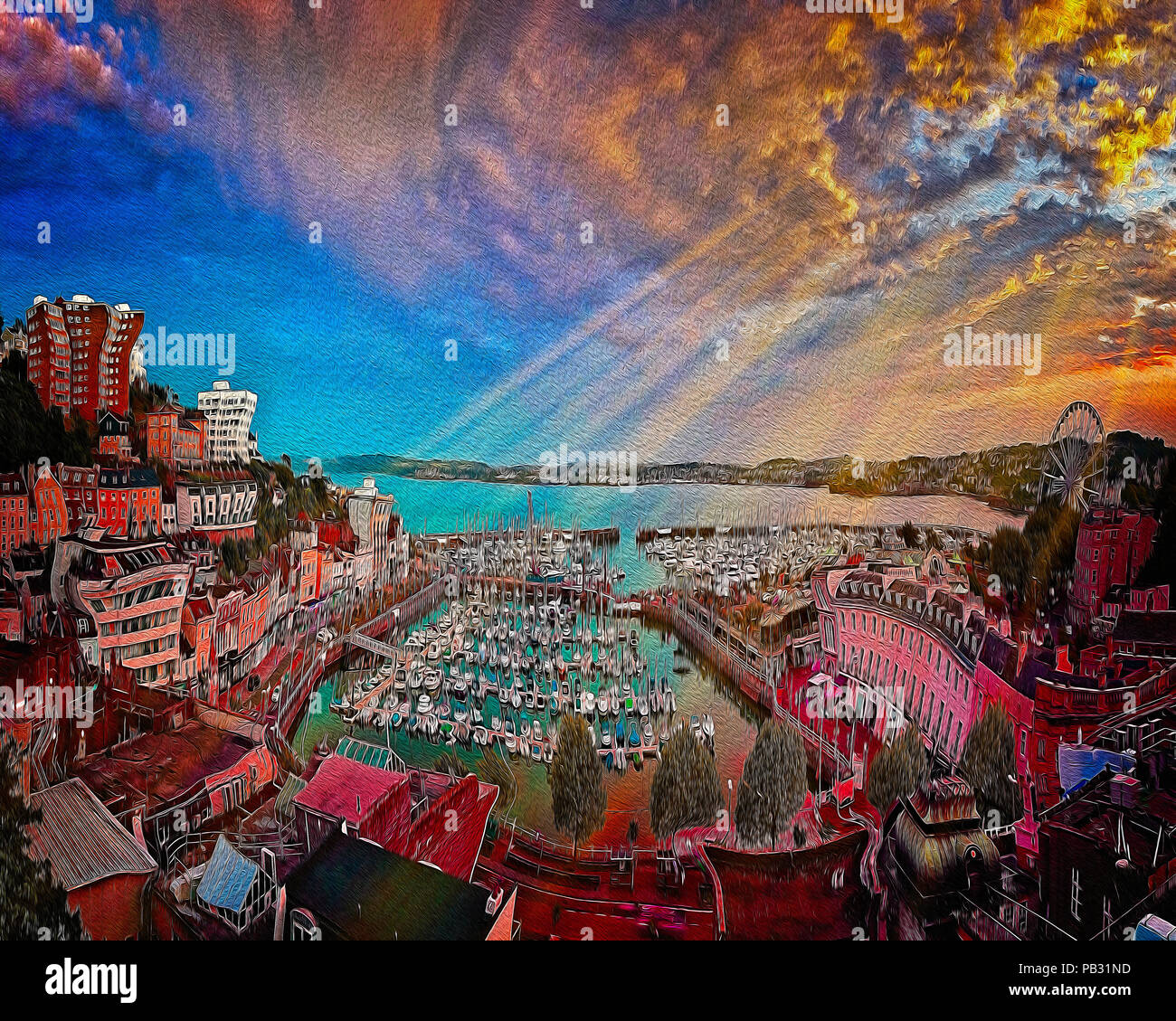 Arte digitale: Torquay harbour & città al tramonto, Devonshire, Gran Bretagna Immagini Stock