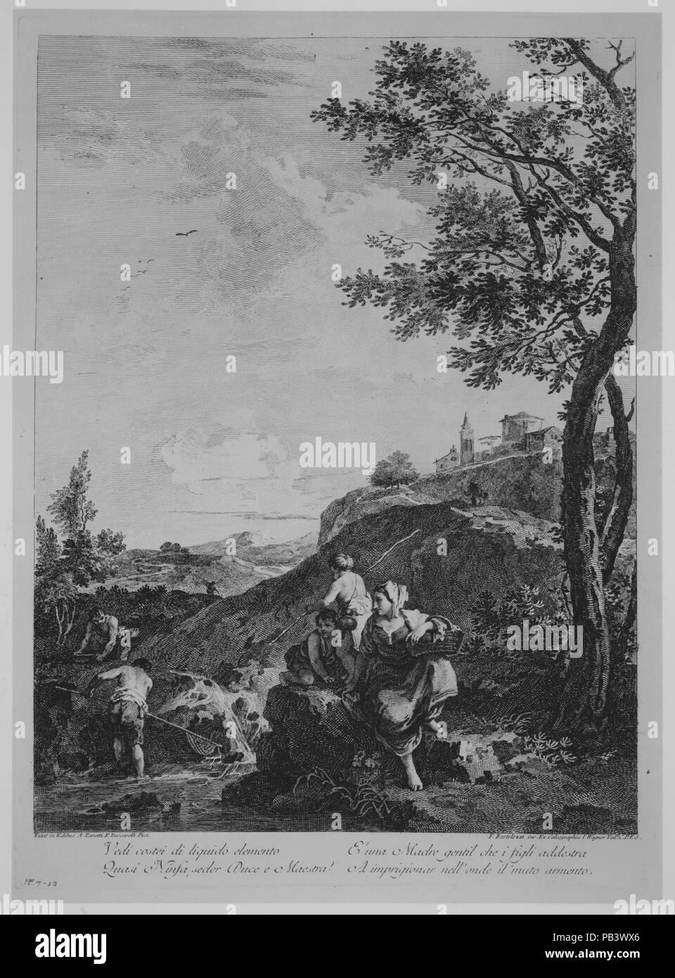 Paesaggio, 'Vedi costei di liquido elemento...'. Artista: Francesco Bartolozzi (italiano, Firenze 1728-1815 Lisbona); dopo Francesco Zuccarelli (italiano, Pitigliano 1702-1788 Firenze). Dimensioni: piastra: 18 1/8 x 14 in. (46 x 35,5 cm) foglio: 19 15/16 x 14 5/16 in. (50,7 x 36,3 cm). Editore: pubblicato da Joseph Wagner (Italiano, 1706-1780 Thalendorf Venezia) , Venezia. Data: 1762. Museo: Metropolitan Museum of Art di New York, Stati Uniti d'America. Immagini Stock