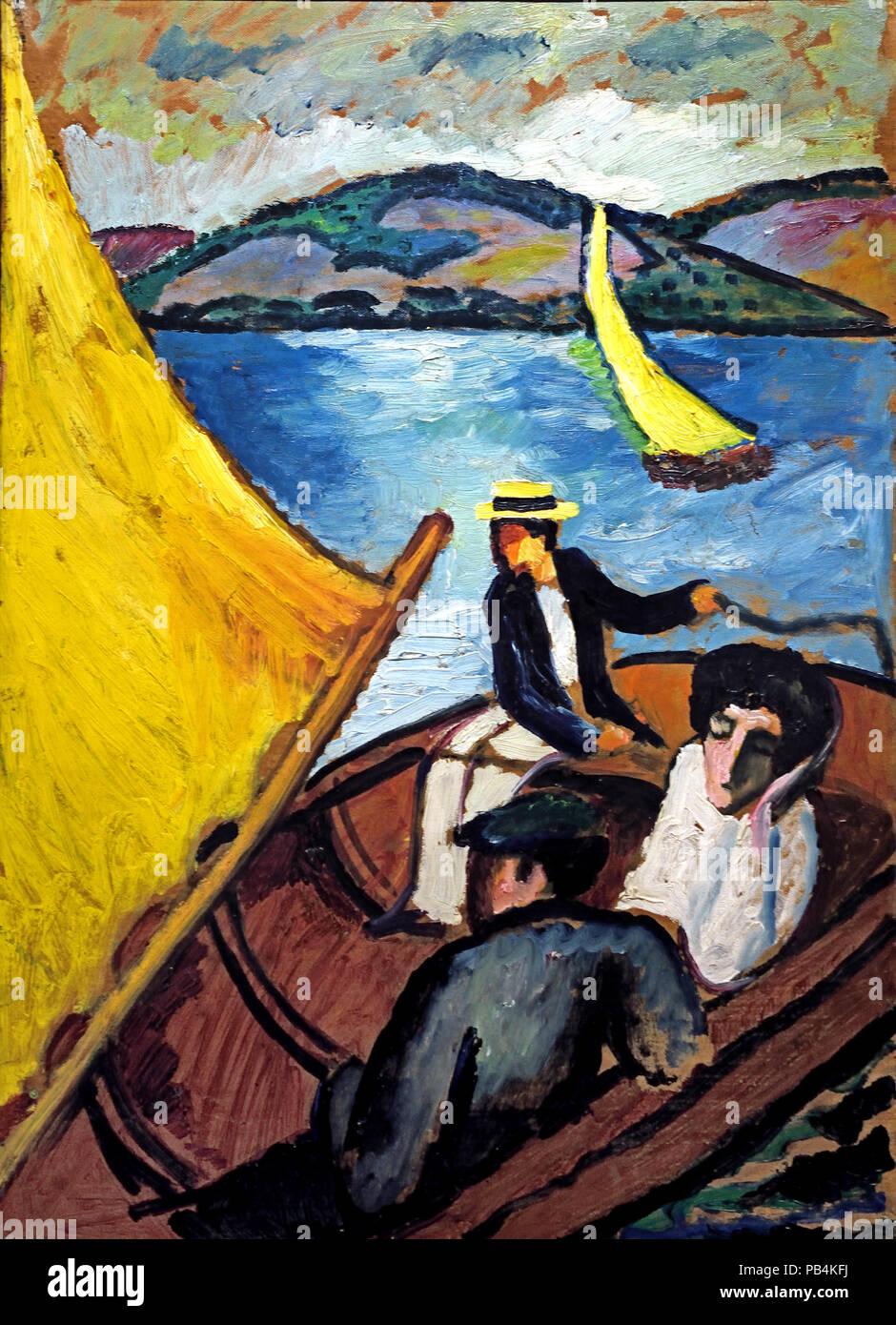 Yachting sul lago Tegern 1910 August Macke 1887-1914 il tedesco in Germania Immagini Stock