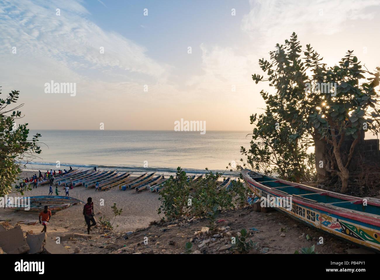 La spiaggia di Toubab Dialao, Senegal Immagini Stock