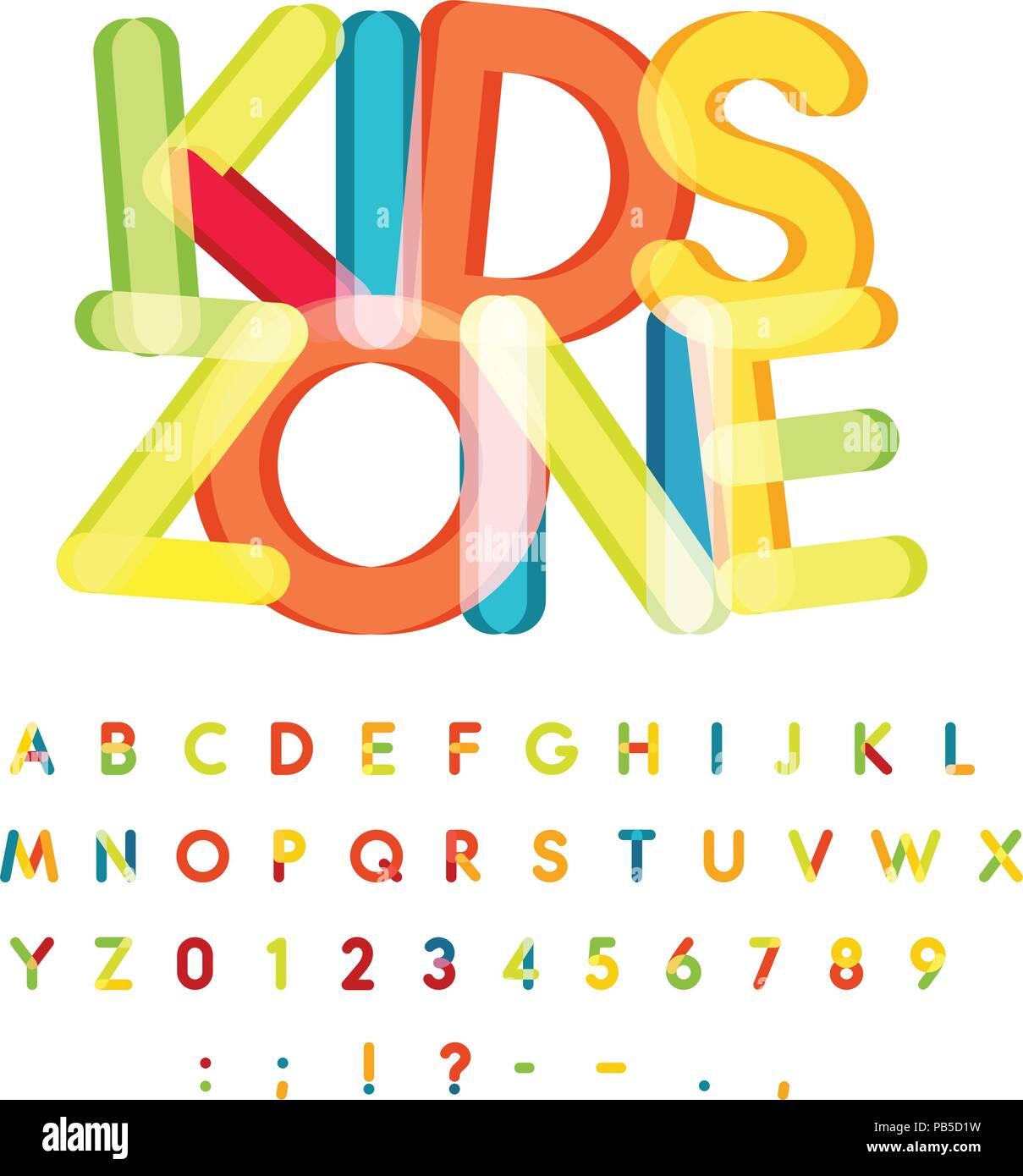 Kids Zone Alfabeto Caramella Stile Colorati Font Vettoriali