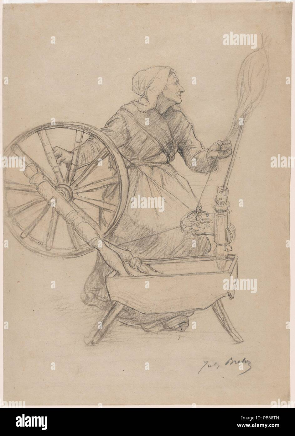 Alla Francese Posizione donna alla ruota di filatura. artista: jules breton