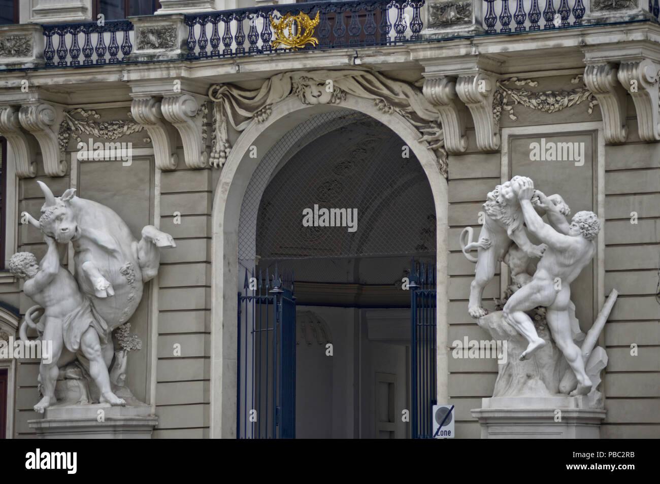 La scuola di equitazione spagnola (Spanische Hofreitschule), Vienna, Austria Immagini Stock
