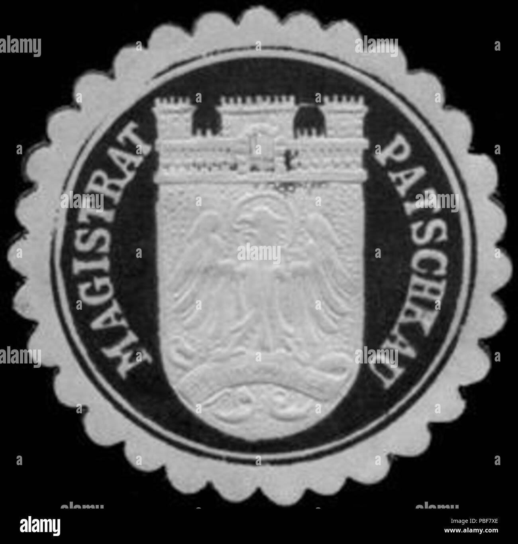 1486 Siegelmarke Magistrat Patschkau W0240487 Foto Stock
