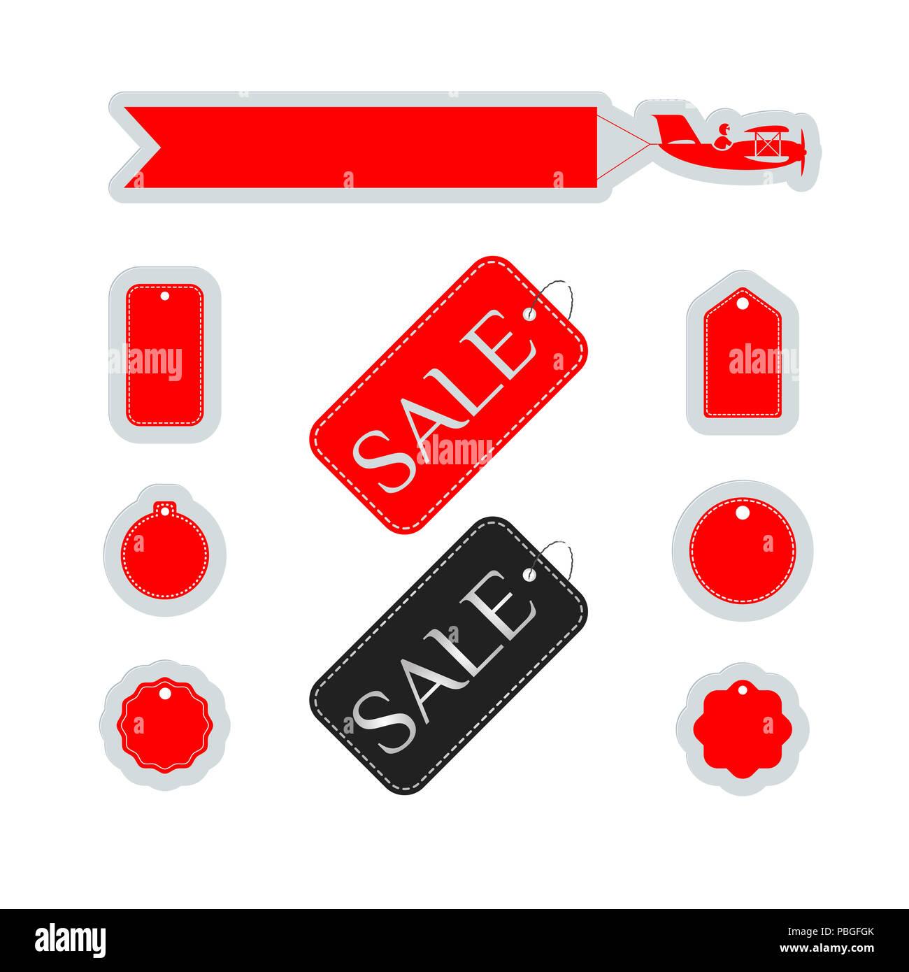 Acquisto e vendita. Etichette per lo shopping, gli elementi di design impostato per il Web Design, banner, presentazioni o biglietti da visita, volantini, opuscoli e poster. Immagini Stock