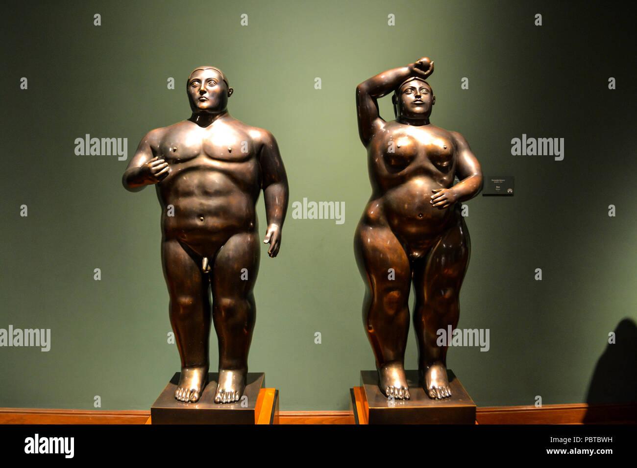 Bogotà, Colombia, ; luglio 24 2017: belle sculture realizzate da Fernando Botero Immagini Stock