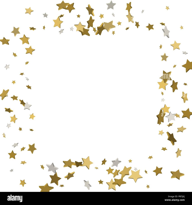 3d Oro Cornice O Telaio Di Dispersione Casuale Stelle