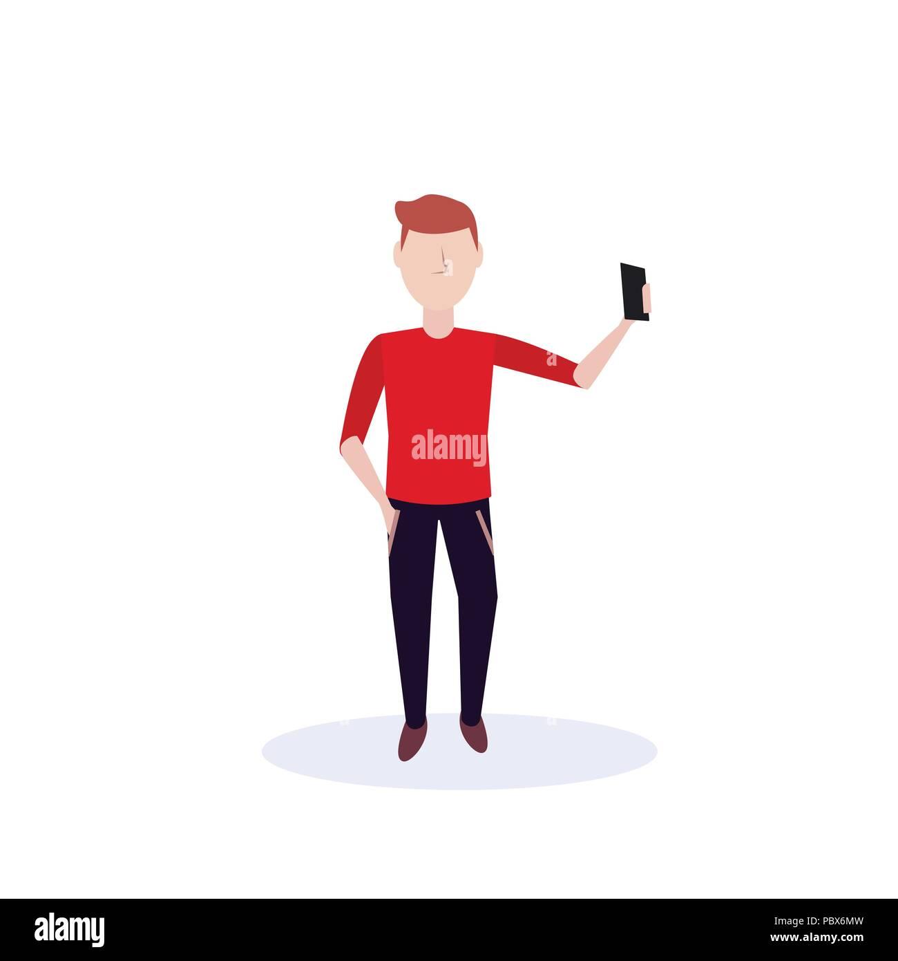 Redhead uomo facendo selfie pongono permanente isolato silhouette