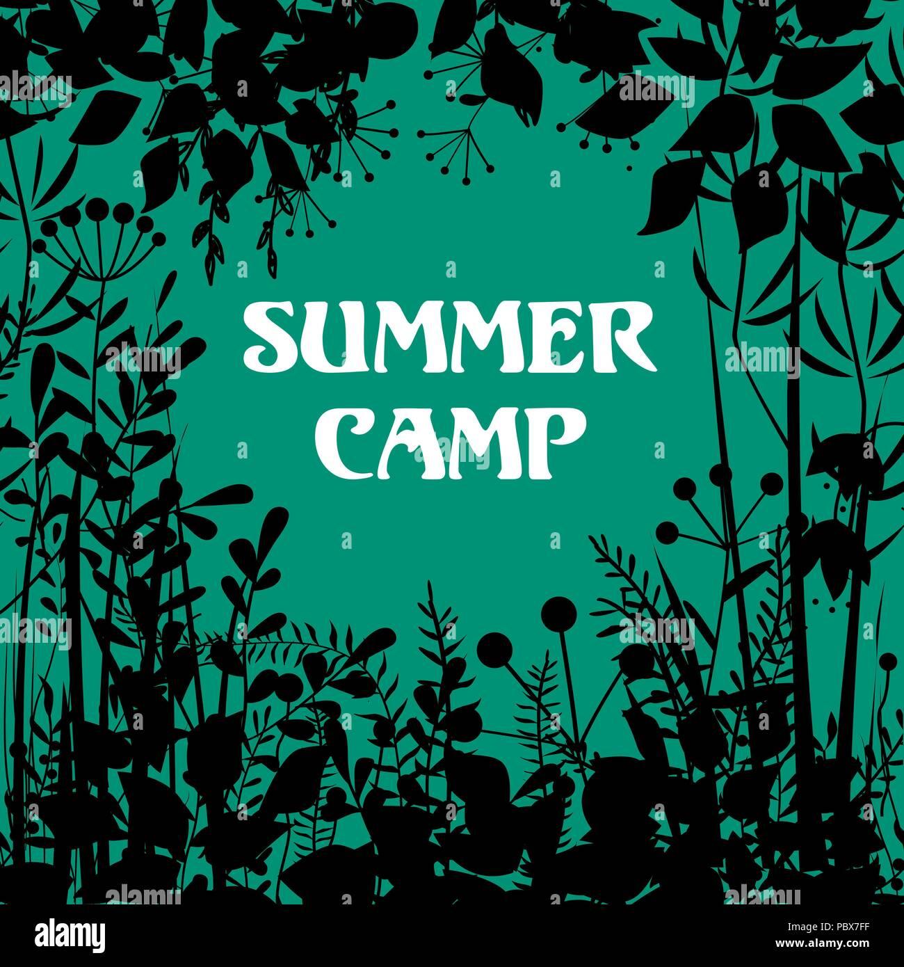 Summer Camp sfondo. Vector decorativi cornice floreale con elementi della foresta. Doodle sfondo per estate aria aperta progetti, schede, imballaggio Immagini Stock