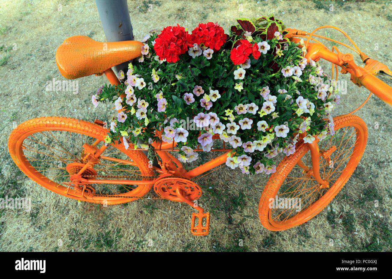 Hunstanton in fiore, di colore arancio spruzzata bicicletta, insolito, contenitore di lettiera, piante e fiori Immagini Stock