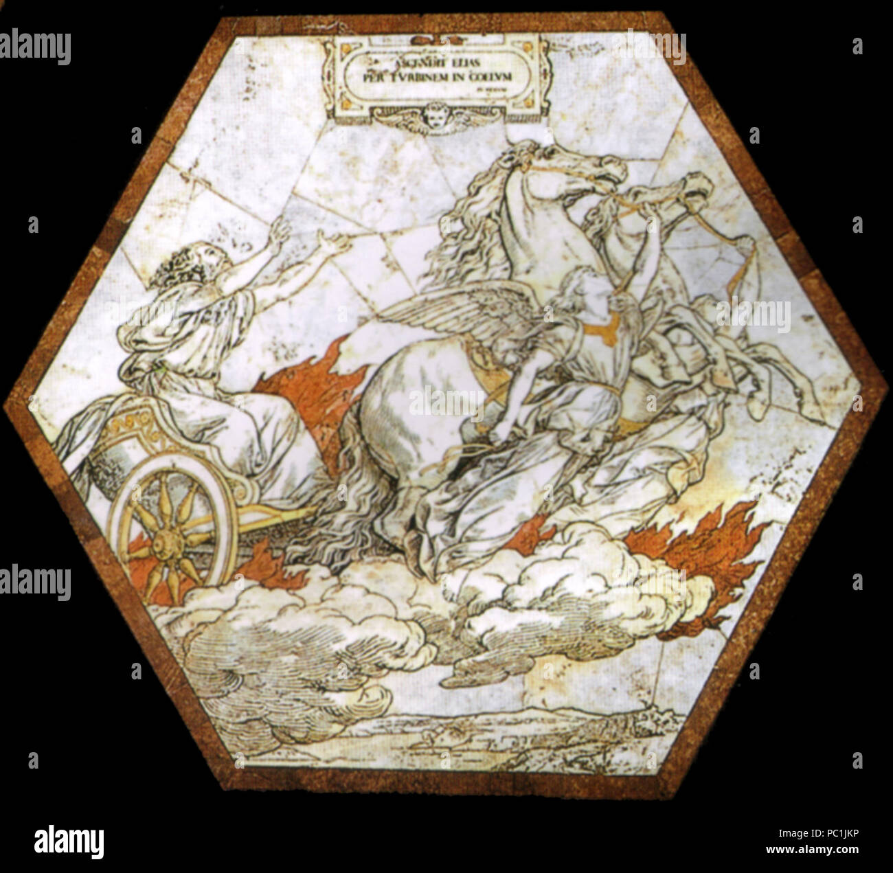 472 Pavimento di siena, esagono, Elia rapito in cielo col carro di fuoco (franchi) Foto Stock