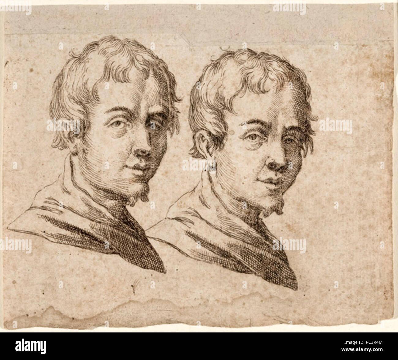 Egidio Sadeler - Dois Estudos da Cabeça de um adolescente. Immagini Stock