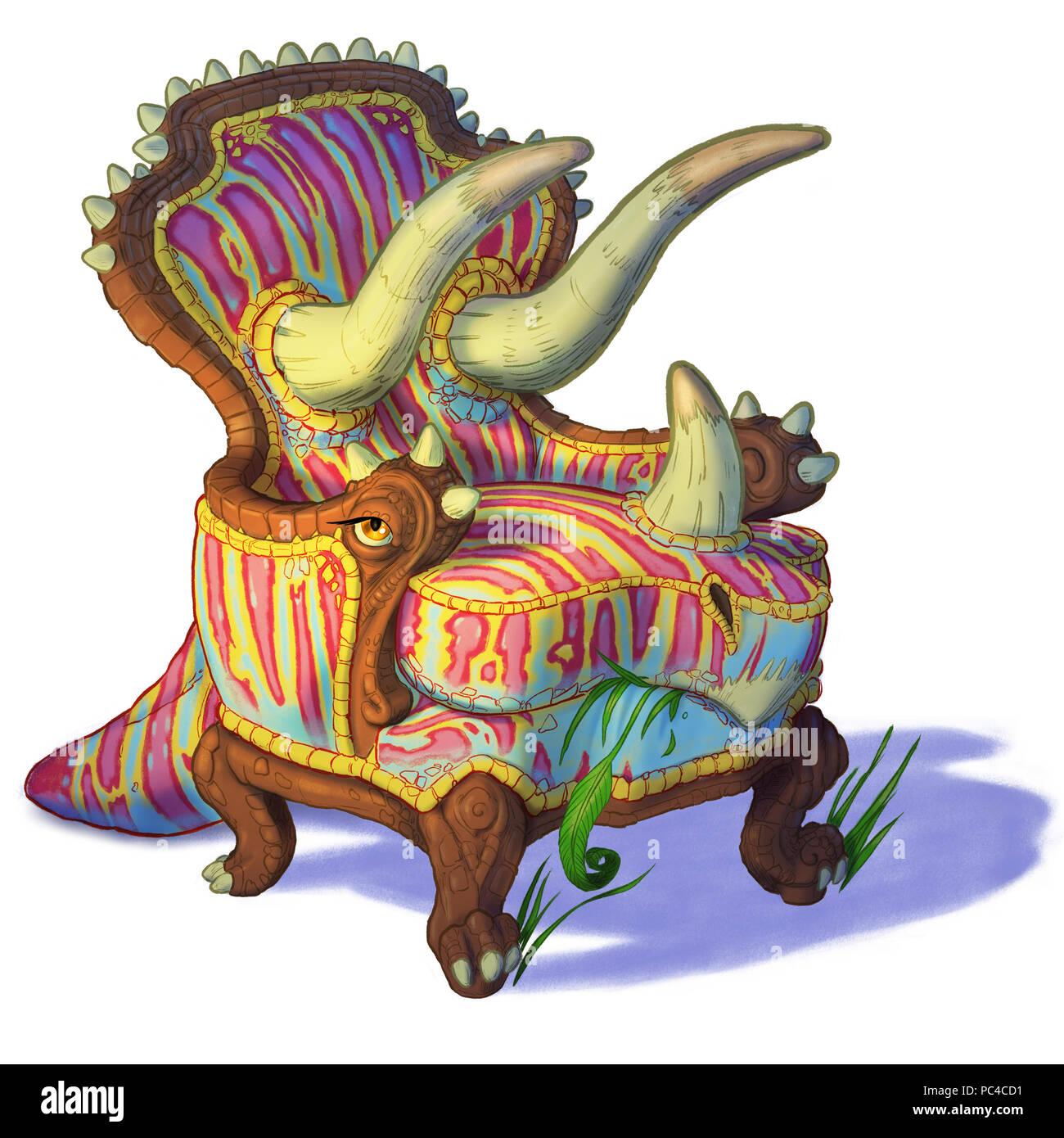 Cartoon clip art illustrazione di un dinosauro triceratops combinato con un semplice sedia o poltrona. Noto anche come Trichairatops. Immagini Stock