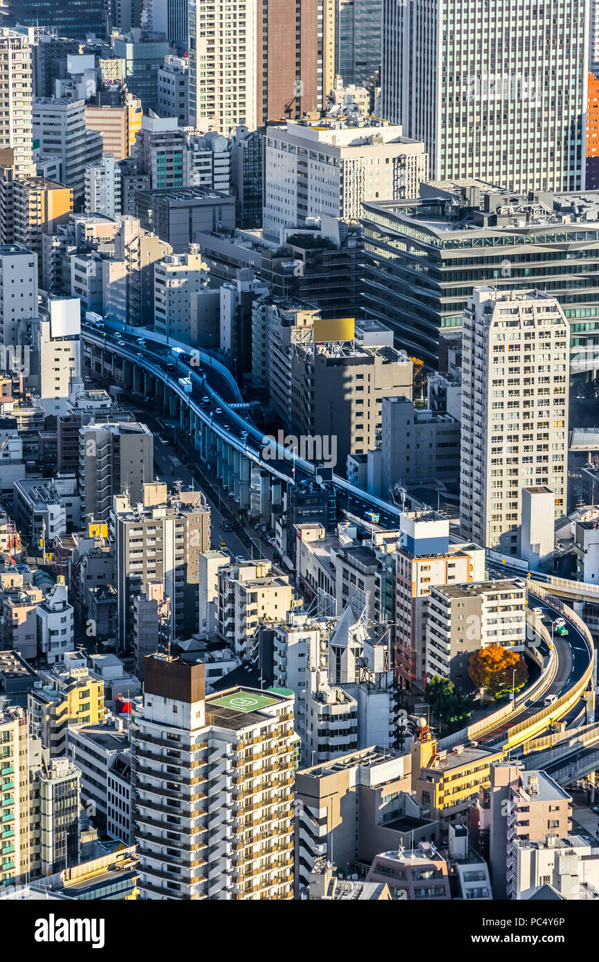 Asia Business concept per il settore immobiliare e aziendale - costruzione moderna panoramiche dello skyline della città bird eye vista aerea di Odaiba & Tokyo Metropolitan E Immagini Stock