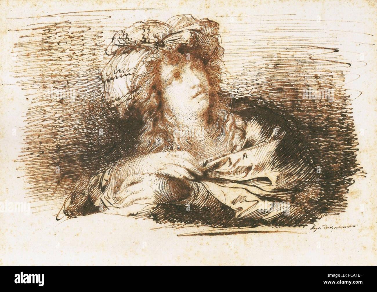 23 Domingos Sequeira - Mulher com turbante Immagini Stock