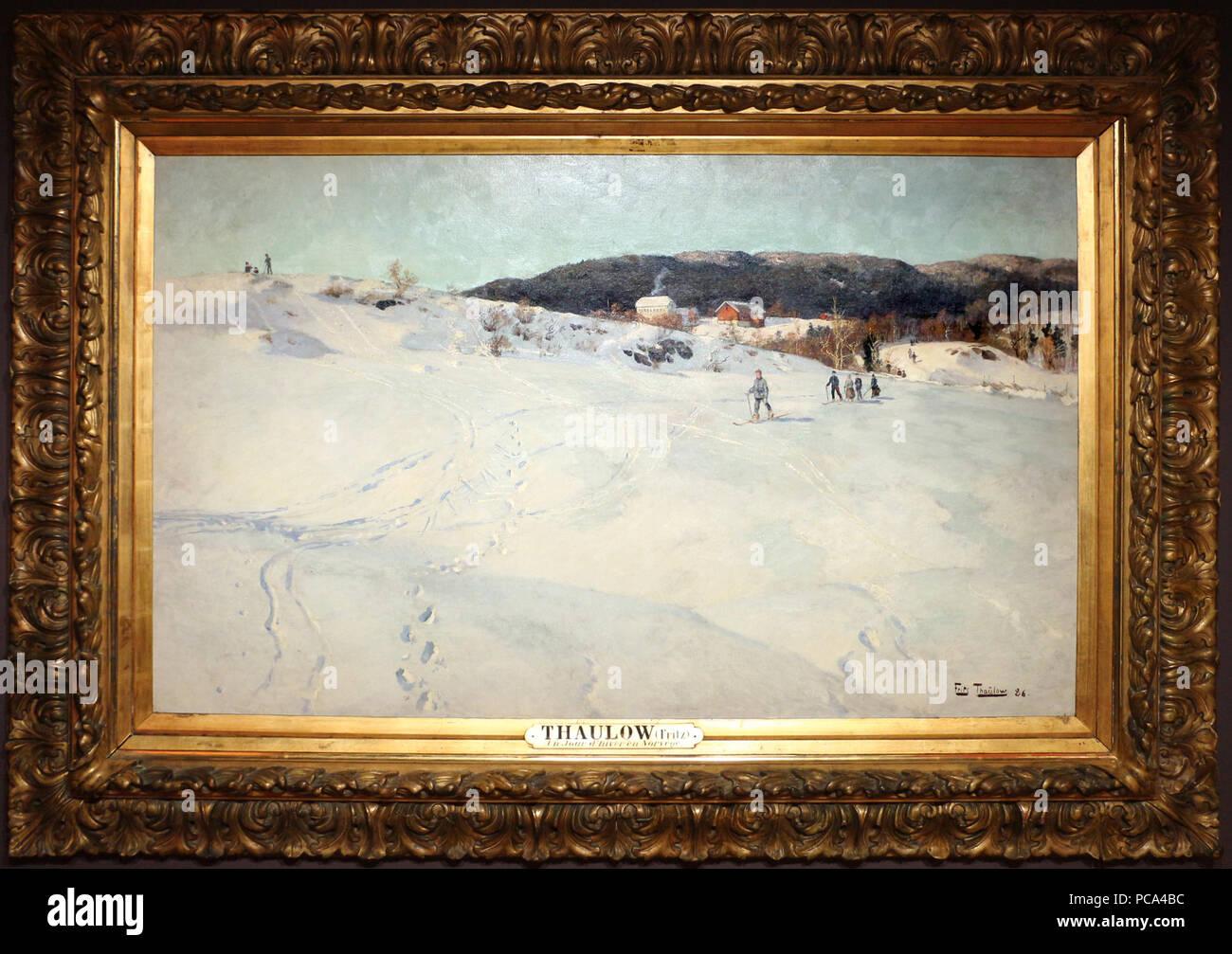 229 Frits thaulow, inverno in Norvegia, 1866 Immagini Stock