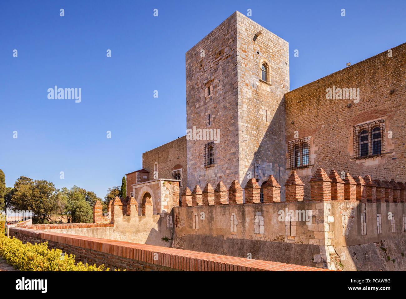 Palazzo dei Re di Maiorca, Perpignan, Languedoc-Roussillon, Pyrenees-Orientales, Francia. Immagini Stock