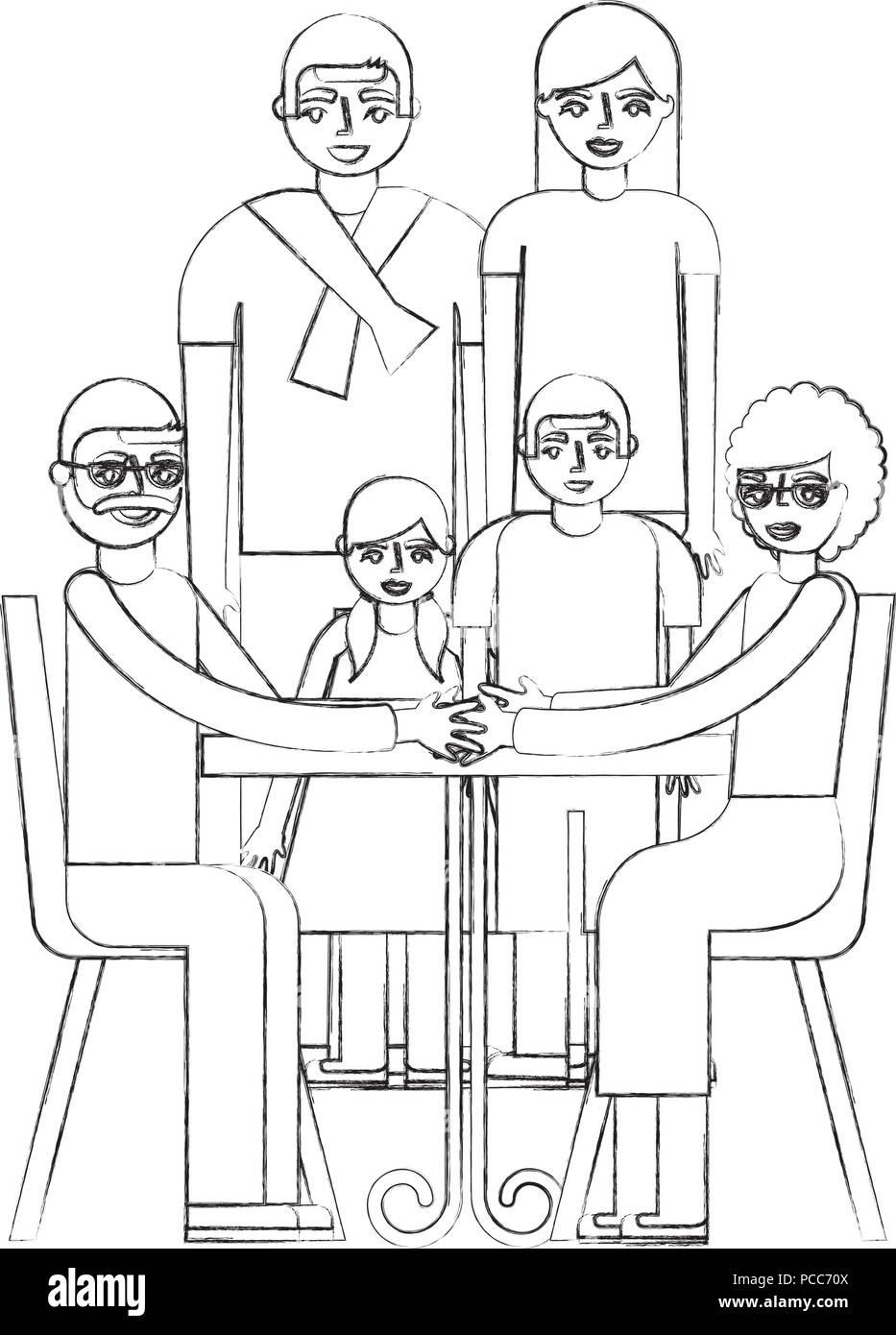 Nonni Seduti In Poltrona E Famiglia Unita Illustrazione Vettoriale