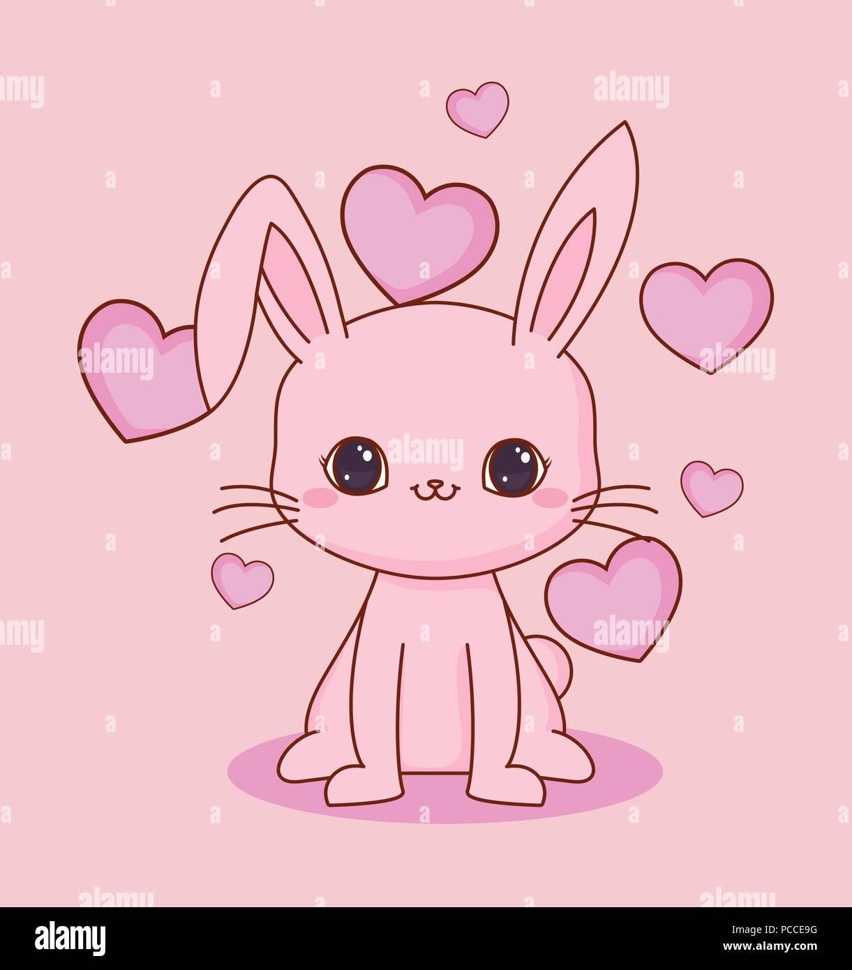 Kawaii Coniglio E Cuori Su Sfondo Rosa Design Colorato