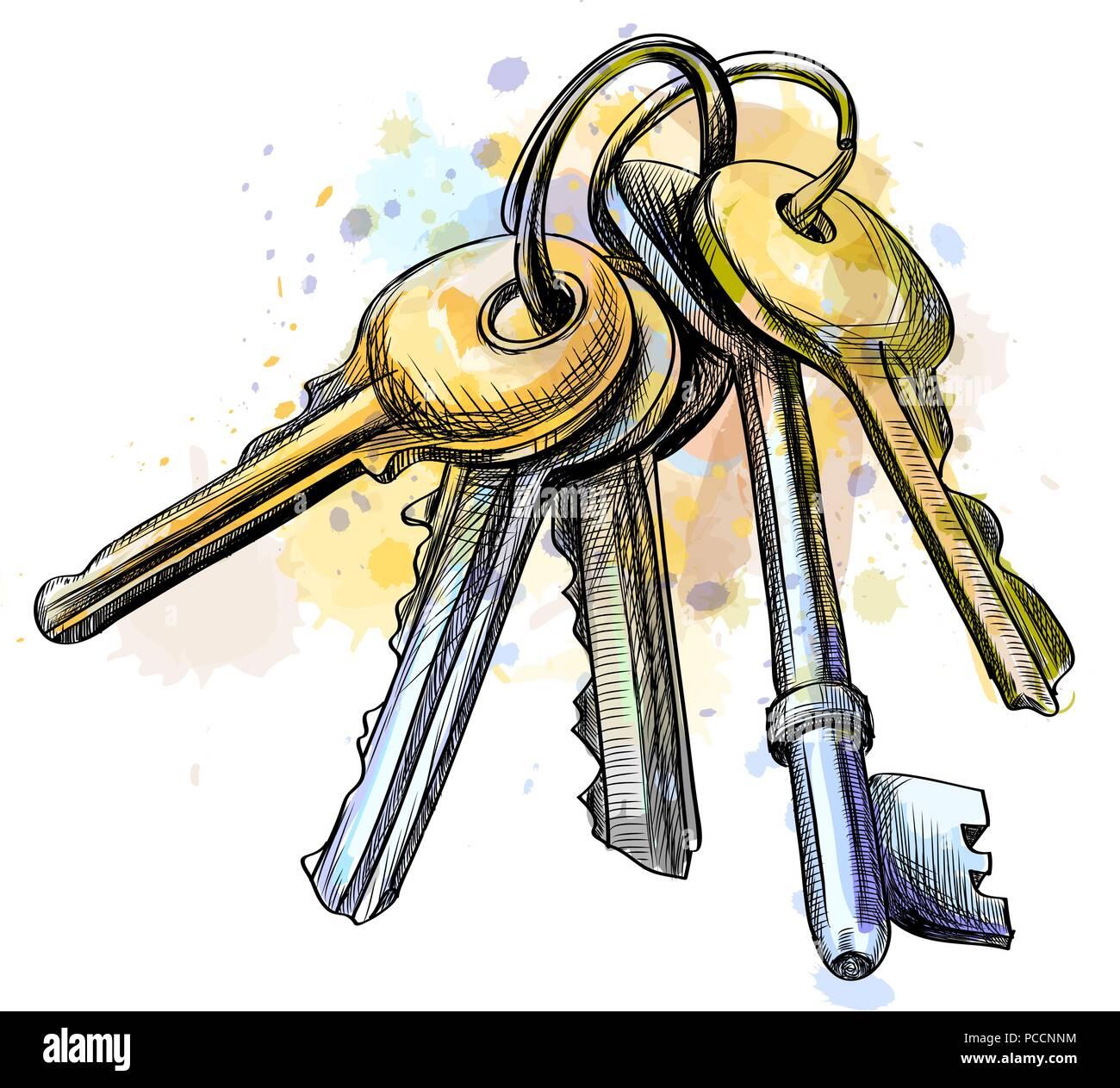 Bunch Keys Black Ring Immagini Bunch Keys Black Ring Fotos Stock